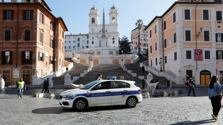 Rome's tourist spot the Spanish Steps was virtually deserted after Italy was put on lockdown