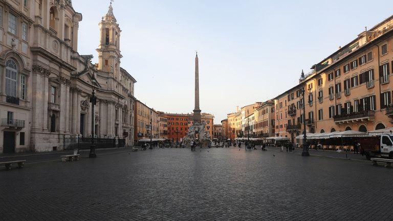 Piazza Navona in Rome deserted
