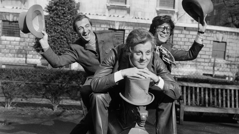 Roy Hudd (L) poses with British entertainers Danny La Rue (C) and Lionel Blair in 1970