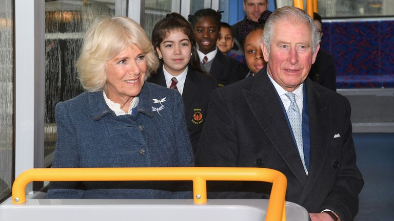 Britain's Prince Charles and Camilla, Duchess of Cornwall take a new electric double decker bus to the London Transport Museum, in London, Britain March 4, 2020. Stuart C. Wilson/Pool via REUTERS