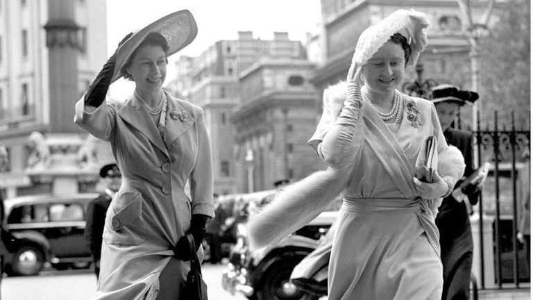 A 1951 photo of the Queen - then Princess Elizabeth - with her mother, Queen Elizabeth. Pic: @theroyalfamily