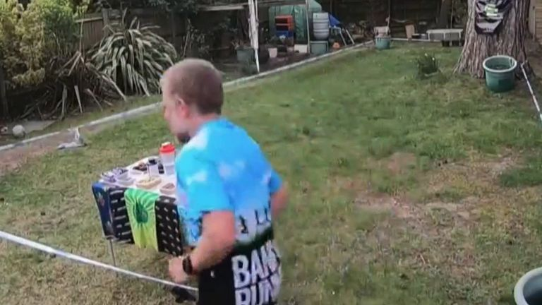 A marathon runner preps himself despite being in lockdown by running laps round the garden and live streaming it to supporters.