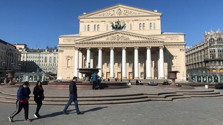 The famous Bolshoi Theatre, like all cultural institutions in Russia, is closed until further notice