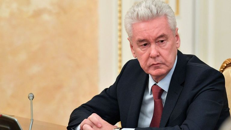 Moscow's Mayor Sergei Sobyanin attends a government meeting on the containment of the COVID-19