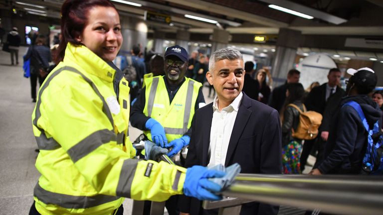 Mayor of London Sadiq Khan during a visit to London Bridge station to see the enhanced cleaning procedures Transport for London (TfL) have introduced across the network
