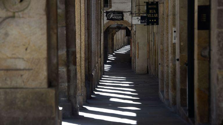 An empty street in Santiago de Compostela