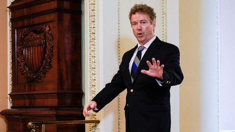 Senator Rand Paul (R-KY) arrives for the beginning of the impeachment trial of U.S. President Donald Trump on Capitol Hill in Washington, U.S., January 16, 2020. REUTERS/Joshua Roberts
