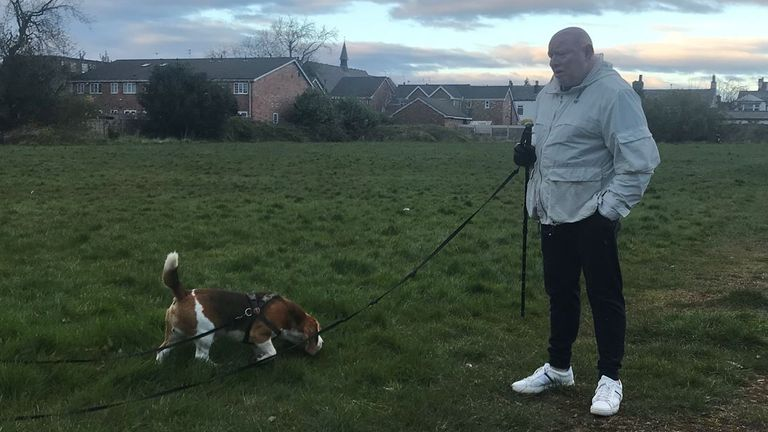 Shaun Ryder and his dog, Malcolm, going for a walk during coronavirus lockdown
