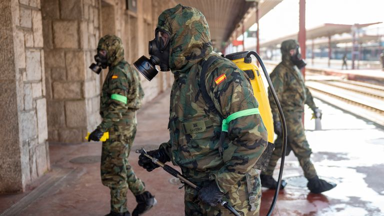 Military officers have been carrying out disinfection work in Irun, Spain