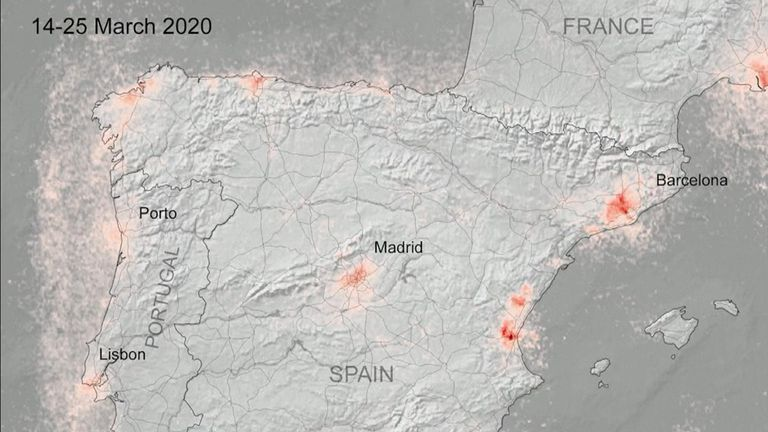 Air pollution has decreased in urban areas across Europe during lockdowns to combat the coronavirus, new satellite images show. Spain less polluted