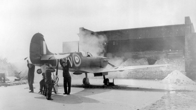 A Spitfire testing its guns at Biggin Hill during the Battle of Britain.