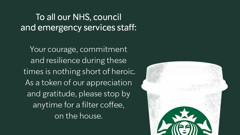 Starbucks is also offering free drinks to emergency staff. Pic: Starbucks