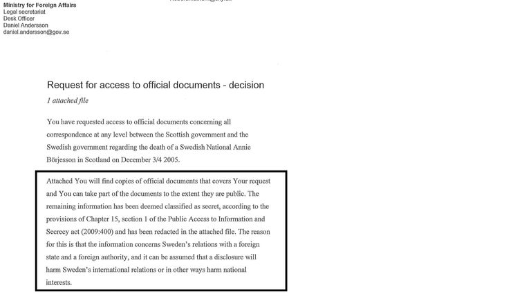 Covering letter sent to Sky News from the Swedish Foreign Ministry citing reasons for redactions