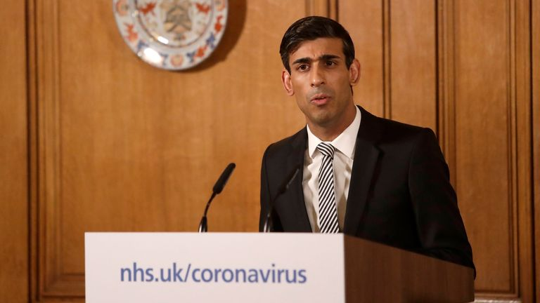 Chancellor Rishi Sunak speaking at a media briefing in Downing Street, London, on Coronavirus (COVID-19). Picture date: Tuesday March 17, 2020. See PA story HEALTH Coronavirus. Photo credit should read: Matt Dunham/PA Wire