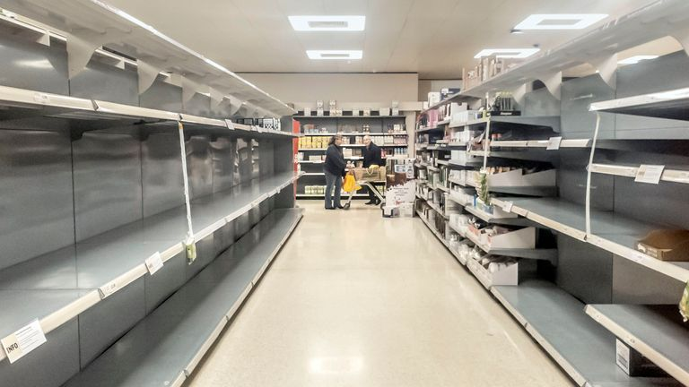Empty supermarket shelves in Coton near Leeds, Yorkshire