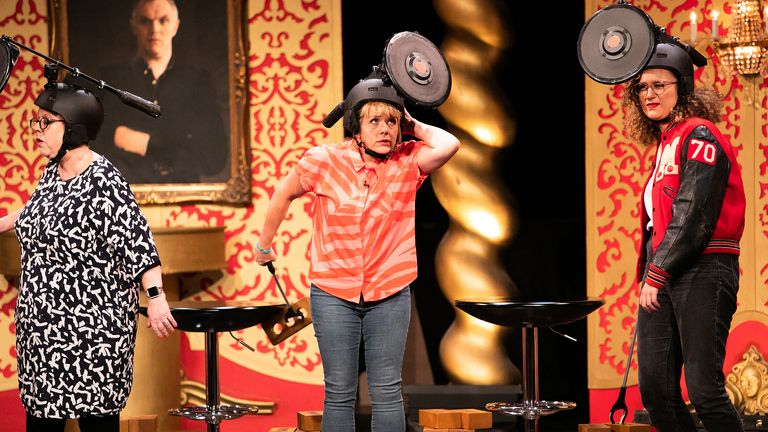 Taskmaster - Series 9 - Episode 05.Picture shows: Studio show with Jo Brand, Kerry Godliman and Rose Matafeo