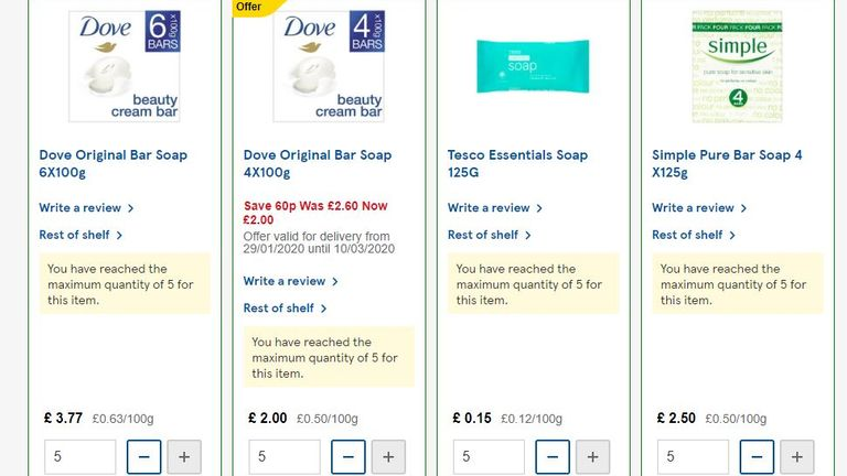 Tesco is limiting purchases of all soaps to five per person