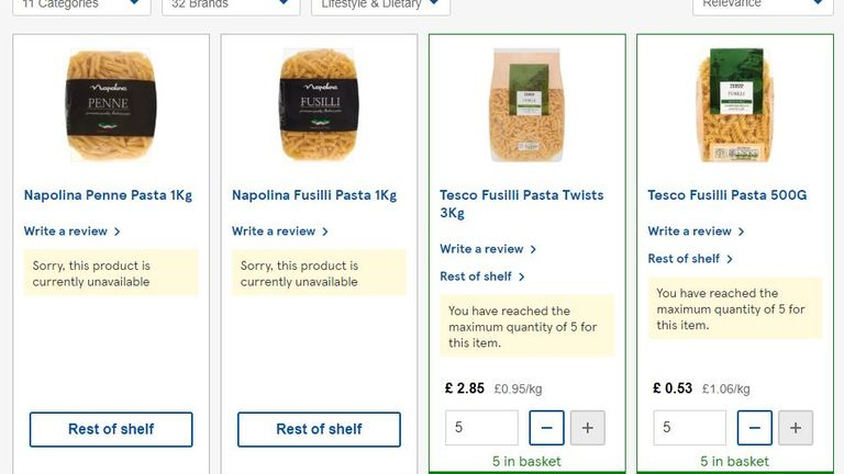 While several lines of pasta have sold out at Tesco, others are being restricted