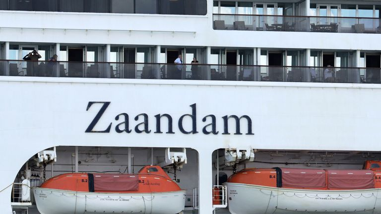 The Zaandam cruise ship is anchored after it arrived to the bay of Panama City