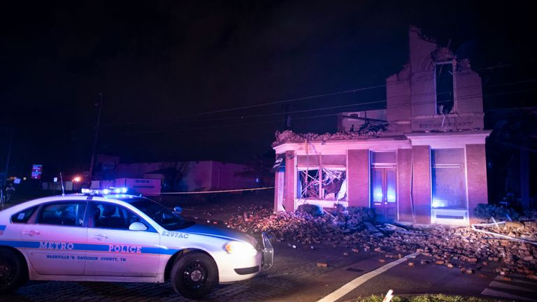 Damage to a house in Nashville