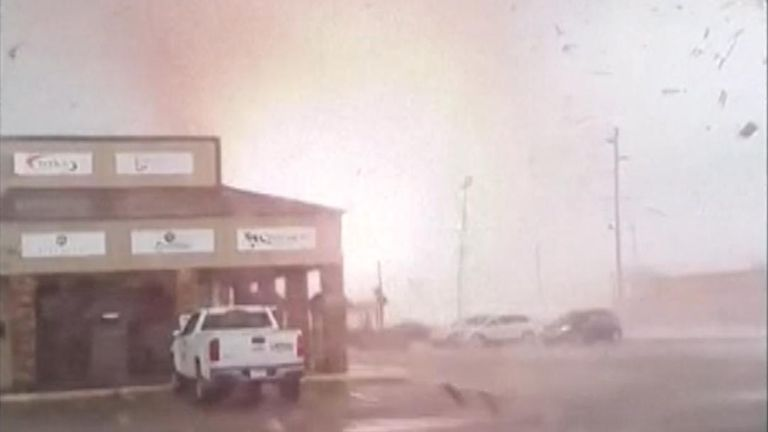 A tornado ripped through northeast Arkansas, leaving six people hurt after hitting in the town of Jonesboro.