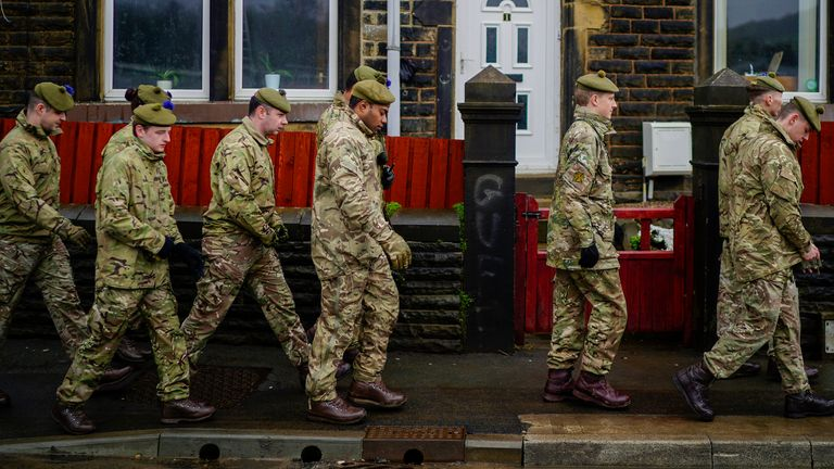 Troops were deployed to help shoe up flood defences