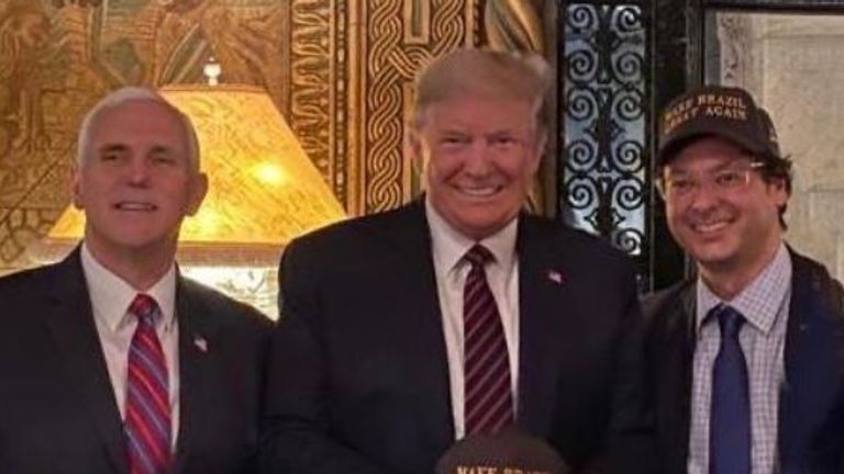 Donald Trump was pictured with Fabio Wajngarten (right) who later tested positive for coronavirus. Pic: Instagram