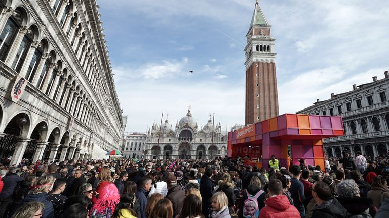 VENICE, ITALY - FEBRUARY 16: A general view of San Marco square during the Venice Carnival 2020 on February 16, 2020 in Venice, Italy. (Photo by Vittorio Zunino Celotto/Getty Images)