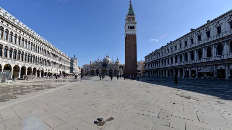Venice is normally packed with tourists but is now comparatively deserted