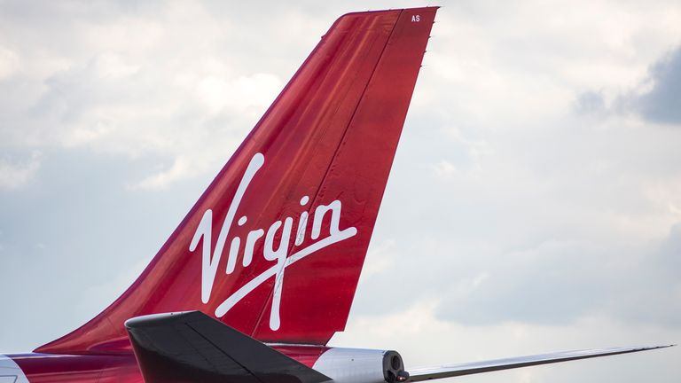 A Virgin Airways aircraft at Heathrow Airport on October 11, 2016 in London, England.