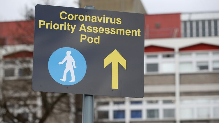 A sign outside Watford General Hospital relating to the Coronavirus pandemic.
