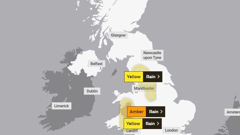Weather warnings have been issued for mid-Wales. Pic: Met Office