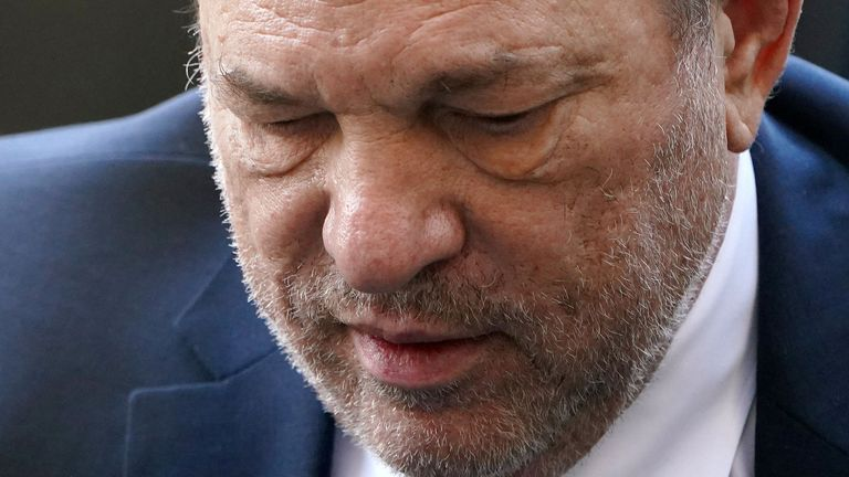 Film producer Harvey Weinstein arrives at the New York Criminal Court during his ongoing