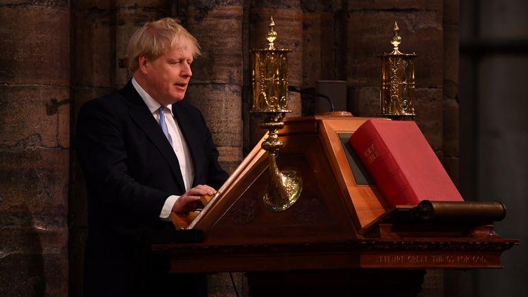 Boris Johnson speaking at the service