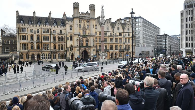 Crowds gathered outside Westminster Abbey