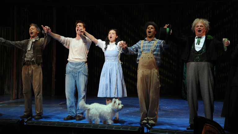 (L-R) Hilton McCrae, Adam Cooper, Sian Brooke, Gary Wilmot and Roy Hudd take their curtain call on the opening night of The Wizard of Oz at the Royal Festival Hall in 2008