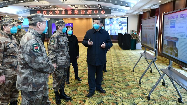 Chinese President Xi Jinping learns about the hospital's operations, treatment of patients, protection for medical workers and scientific research at the Huoshenshan Hospital in Wuhan