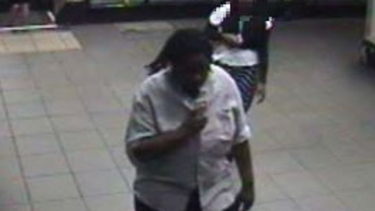 Yannick Glaudin seen in CCTV footage on the London Underground. Pic: CPS