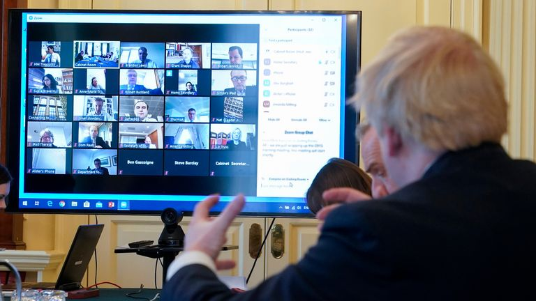 The cabinet met on Zoom. Pic: Andrew Parsons / No 10