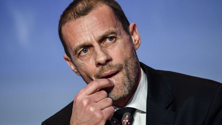 UEFA President Aleksander Ceferin during a press conference following his re-election