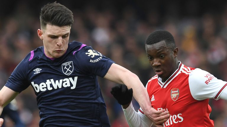 Declan Rice in action for West Ham against Arsenal
