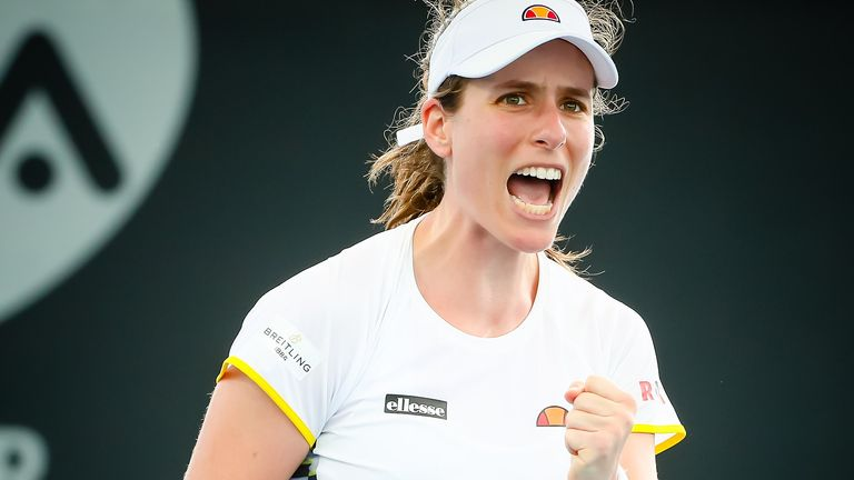 Johanna Konta of Britain reacts after a point against Barbora Strycova of the Czech Republic during the women's singles match on day one of the Brisbane International tennis tournament in Brisbane on January 6, 2020