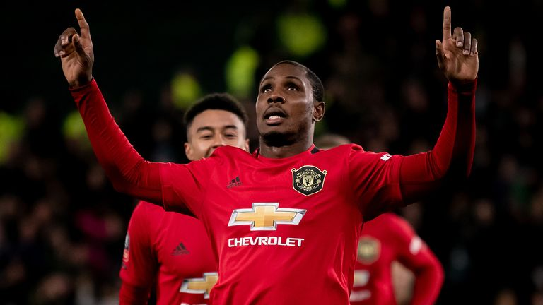Odion Ighalo celebrates scoring for Manchester United against Derby in FA Cup