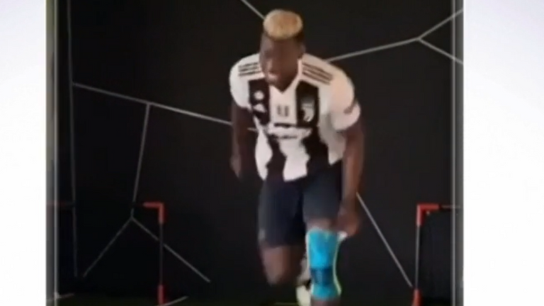 Manchester United midfielder Paul Pogba trains in a Juventus shirt in support of his France team-mate Blaise Matuidi after he tested positive for coronavirus (Pictures: @paulpogba)