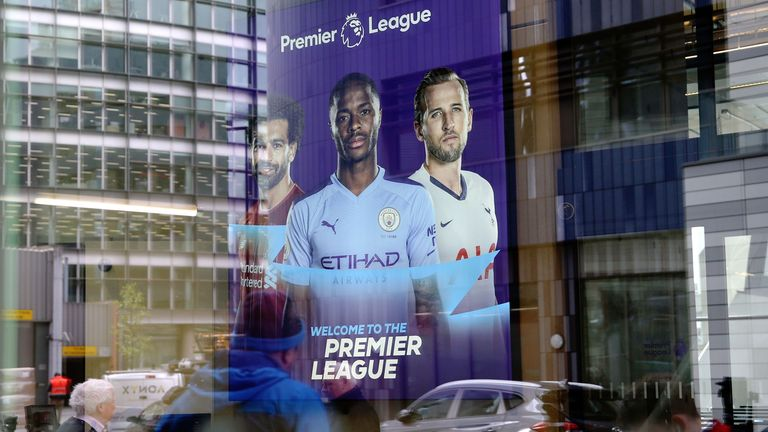 A general view through the windows of Premier League headquarters in London