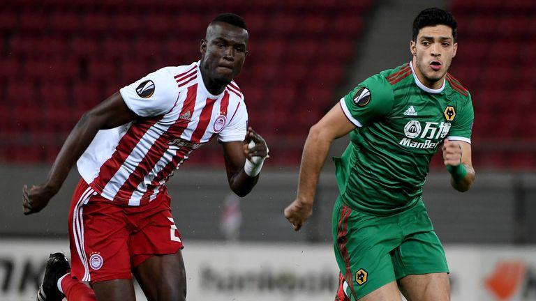 Raul Jimenez of Wolverhampton Wanderers and Ousseynou Ba of Olympiakos