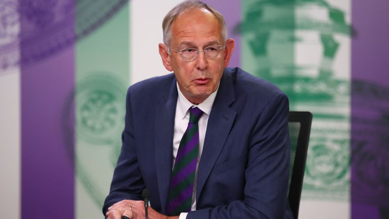 Chief Executive Richard Lewis addresses the media during the Wimbledon Spring Press Conference 2019 at the All England Lawn Tennis and Croquet Club on April 30, 2019 in London, England