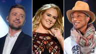Justin Timberlake, Adele and Pharell Williams are behind some of the most-played tracks of the 2010s