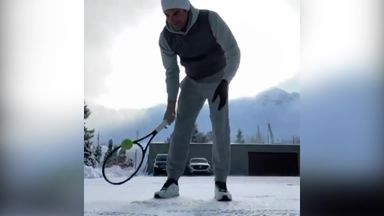 Federer's stay at home practice routine