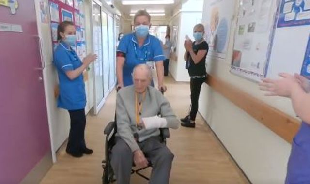 Coronavirus: WWII veteran, 99, gets guard of honour after COVID-19 recovery